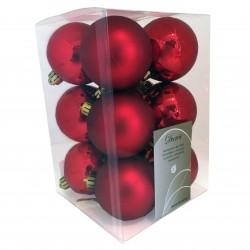 6 cm julekugler, rød, mat og blank, 12 stk i boks-20