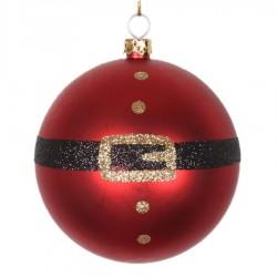 8 cm julekugle, mat, rød m/julemandens bælte-20