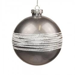 10 cm kugle, sølv perlemor m/ hvidt glitter-20