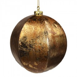 12 cm kugle, guld/brun, papier maché-20
