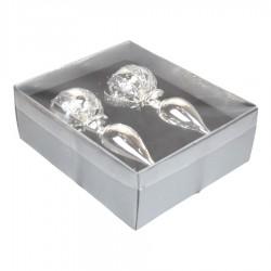 15 cm finial, 2 stk i boks, sølv, glas-20
