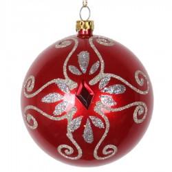8 cm julekugle, perlemor, rød m/simili og champagne glitter-20