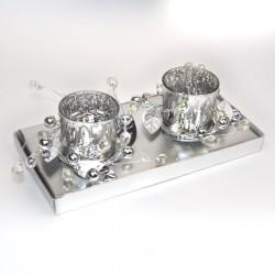 2 fyrfadsstager, sølv m/pynt-20