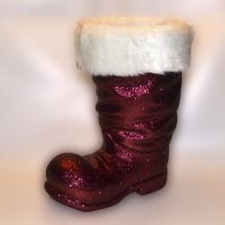 Julemandens støvle, 40 cm, bordeaux glitter-20