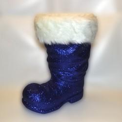 Julemandens støvle, 40 cm, mørkeblå glitter-20