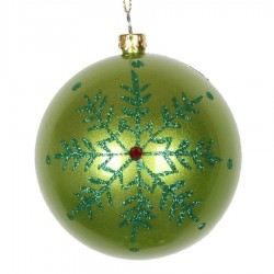 8 cm kugle, perlemor, lime m/snefnug, rød simili og grøn glitter-20