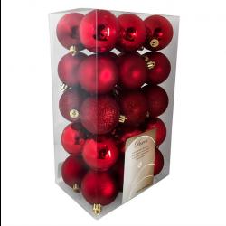 Julekugler, Rød mix, 6 cm, 30stk./boks-20