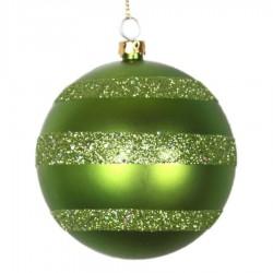 8 cm julekugle, mat, lime m/horizontal lime glitter bælter-20