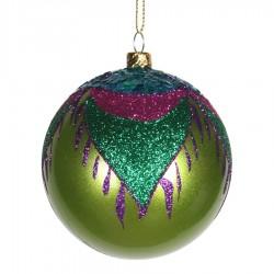 8 cm julekugle, perlemor, lime m/påfugl lilla, grøn, turkis, pink glitter-20