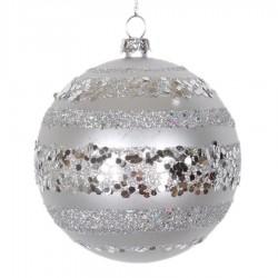 8 cm kugle, mat, sølv m/horizontal sølv glitter bælter-20