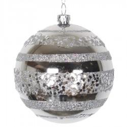 8 cm julekugle, blank, sølv m/horizontal sølv glitter bælter-20