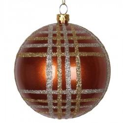 8 cm julekugle, perlemor, kobber m/champagne og guld scotch glitter-20