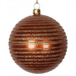 8 cm julekugle, perlemor, kobber med horizontal kobber glitter striber-20