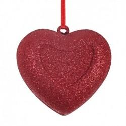 8 cm, Hjerte, rødt glitter-20