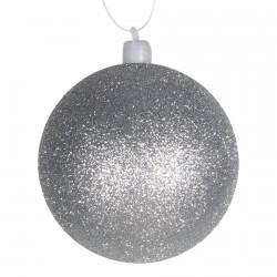 8 cm julekugle med glitter, sølv-20