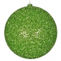 20 cm julekugle, grovglitter, lime-20