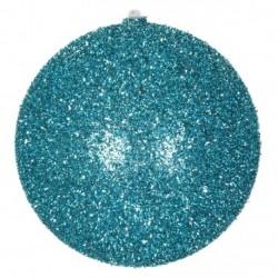 20 cm julekugle, grovglitter, turkis-20