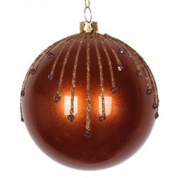 8 cm julekugle, perlemor, kobber m/stjerneskud kobber og choko glitter-20