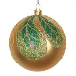 8 cm julekugle, mat, guld m/blad champagne, lime, grøn glitter-20