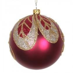 8 cm julekugle, mat, burgundy m/blad champagne, guld, burgundy glitter-20