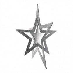 86 cm 3D stjerne, glitter, sølv-20