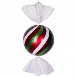 94 cm rundt slik, rødt med hvidt og grønt glitter-20