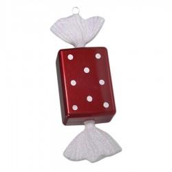 20 cm slik, rød med hvidt glitter, regtangulær-20