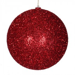 25 cm julekugle, grovglitter, rød-20