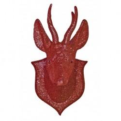 42x20 cm Rensdyr trofæ, glitter, rød-20