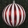 30 cm julekugle, lodrette striber, perlemor rød med hvidt glitter-01