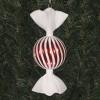18 cm rundt slik, perlemor rød med swirl og haler i hvidt glitter-01