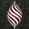 26,5 x 15 cm julekugle, top, perlemor rød med hvidt glitter-01