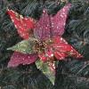 Julestjerne med clip, rød og grøn med perle dekoration-01
