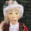Julesangerinde, dame, 90 cm, rød, grøn og guld-01