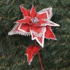 Julestjerne dekogren, rød velour med sølvglitter-01