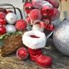 8 cm julekugle, mat, rød m/julemandens bælte-01