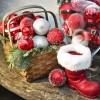 8 cm julekugle, perlemor, rød m/simili og champagne glitter-01