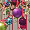 8 cm julekugle, mat, lime m/lime, guld, turkis scotch glitter-01