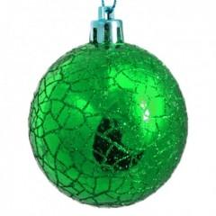 6 cm kugler, crackle glitter, grøn, 6 stk i boks