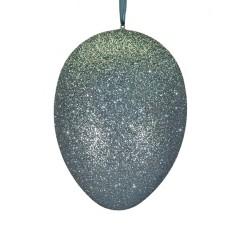 24 cm påskeæg med ophæng, aqua marine glitter