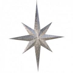 100 cm stjerne, glitter, sølv