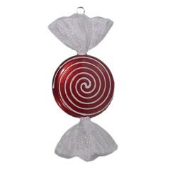 18 cm slik, rød med hvidt glitter, flad, rund