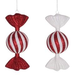 2 stk. 18 cm slik, rød/hvid glitter, 2 assort. pris for 2 stk.