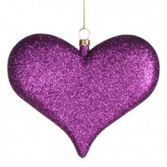 11,5 cm hjerte, glitter, lilla
