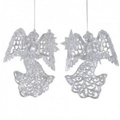12 cm engle, sølvglitter, sæt a 2 stk.