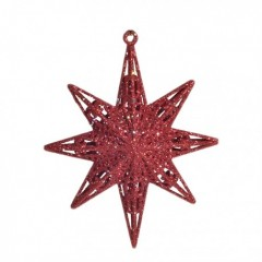12,5 cm stjerne, glitter, rød