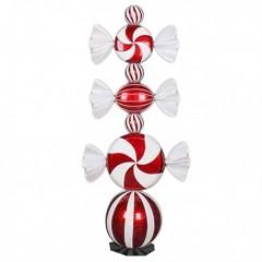 130 cm sliktårn på fod, rødt med hvidt glitter