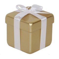 10x10 cm pakke, guld perlemor m/hvid sløjfe