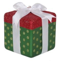 15x15 cm pakke, grøn perlemor m/rødt- og lime glitter