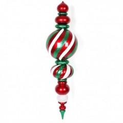 157 cm finial, rødt med hvidt og grønt glitter